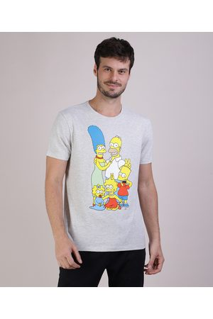Os Simpsons Camiseta Masculina Manga Curta Gola Careca Mescla Claro