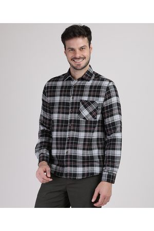 Suncoast Camisa de Flanela Masculina Tradicional Estampada Xadrez com Bolso Manga Longa Preta