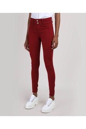 Clockhouse Mulher Calça de Alfataria - Calça de Sarja Feminina Super Skinny Pull Up Cintura Média Vermelha