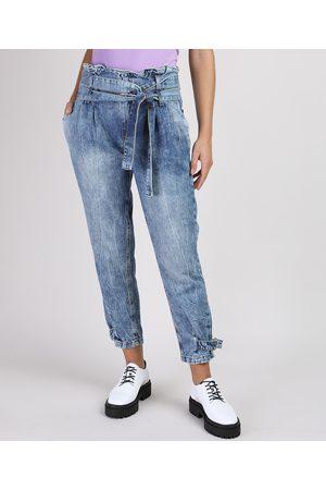 Clockhouse Mulher Calça Cintura Alta - Calça Jeans Feminina Mom Clochard Cintura Super Alta Marmorizada com Faixa para Amarrar Médio