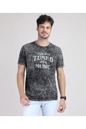 """Clockhouse Homem Manga Curta - Camiseta Masculina Marmorizada Always Tuned Into Music"""" Manga Curta Gola Careca Preta"""""""