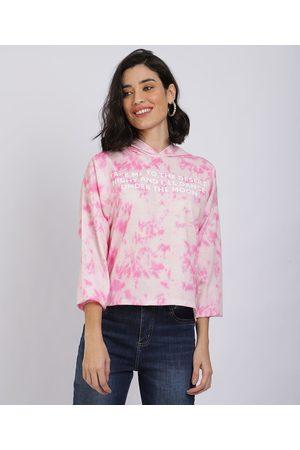 Clockhouse Blusão de Moletom Feminino Tie Dye com Capuz Pink