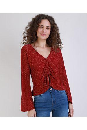 YESSICA Blusa Feminina Cropped Estampada de Poá com Amarração Manga Sino Decote V Vermelha