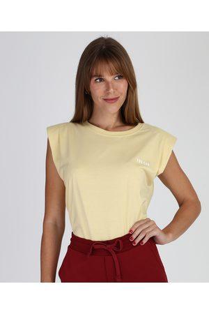 "Clockhouse Mulher Regata - Regata Muscle Tee Feminina You Can"" com Ombreiras Decote Redondo Amarela Claro"""