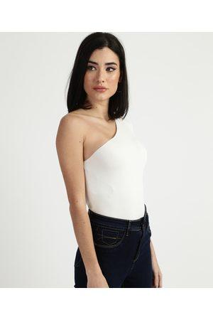 Clockhouse Mulher Blusa - Blusa Feminina One Shoulder um Ombro Só Off White