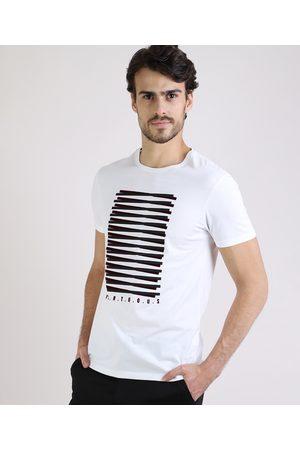 AL Contemporâneo Homem Manga Curta - Camiseta Masculina Slim com Estampa Geométrica Manga Curta Gola Careca Branca
