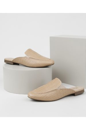 Via Uno Mulher Sapato Mule - Mule Feminino Textura Croco