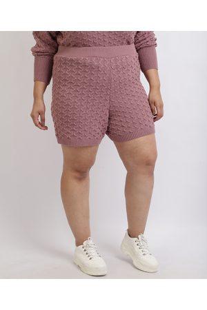 Mindse7 Mulher Short - Short Feminino Mindset Plus Size Reto em Tricô Cintura Alta Lilás