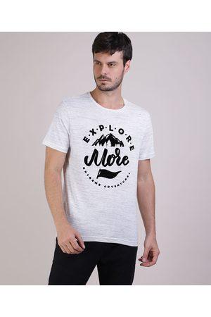 "Clockhouse Camiseta Masculina Explore More"" Manga Curta Gola Careca Branca"""