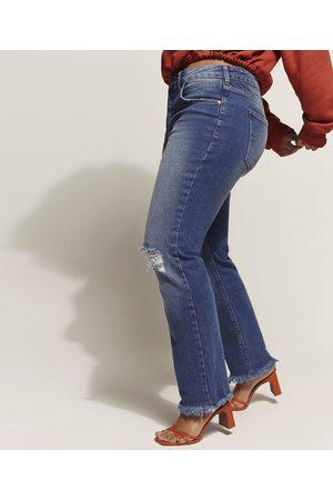 YESSICA Calça Jeans Feminina Reta Cintura Alta com Rasgos e Barra Desfiada Escuro