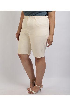 Mindse7 Mulher Bermuda - Bermuda de Sarja Feminina Mindset Plus Size Reta Cintura Alta com Bolsos Off White