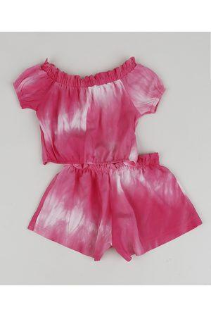 BABY CLUB Menina Conjuntos - Conjunto Infantil Tie Dye de Blusa + Short Rosa