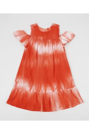 PALOMINO Vestido Infantil Ciganinha Tie Dye Manga Curta com Vazado Laranja