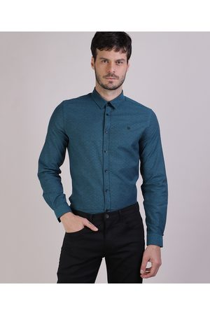 AL Contemporâneo Camisa Masculina de Cruzes Manga Longa Azul Petróleo