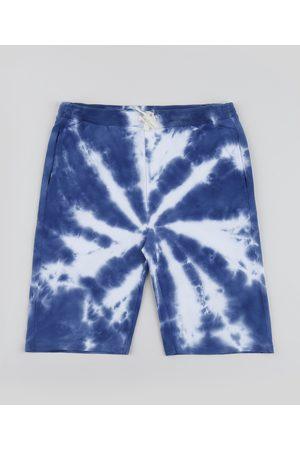 Fifteen Bermuda de Moletom Juvenil Estampada Tie Dye com Bolsos Azul