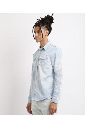 Clockhouse Camisa Jeans Masculina Comfort Estampada Tie Dye Manga Longa