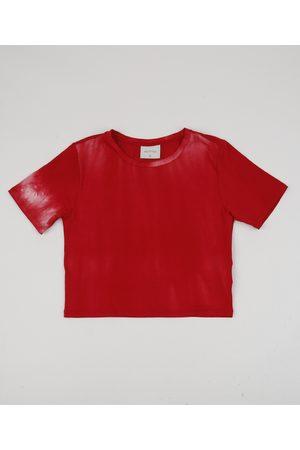 Fifteen Blusa Juvenil Cropped Estampada Tie Dye Manga Curta Vermelha