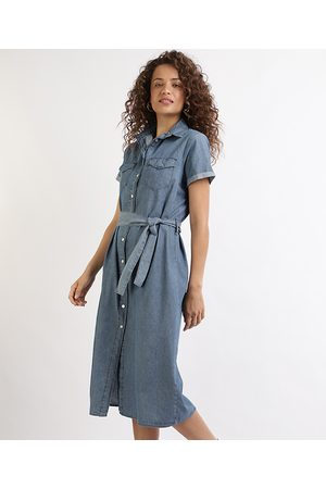 YESSICA Vestido Jeans Feminino Chemise Midi com Faixa para Amarrar Manga Curta