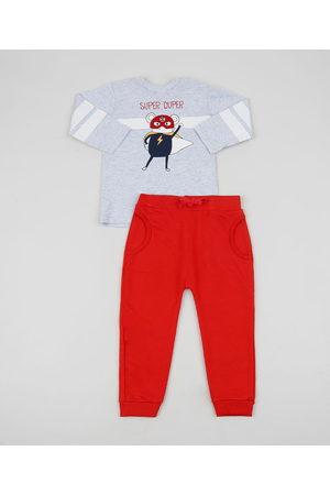 BABY CLUB Conjunto Infantil Rato de Blusão Estampado Mescla + Calça em Moletom Vermelha