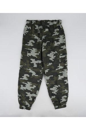 Fifteen Calça Juvenil Jogger Estampada Camuflada Verde Militar
