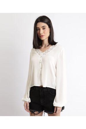 Clockhouse Mulher Camisa Casual - Camisa Feminina com Transparência e Renda Manga Longa Off White