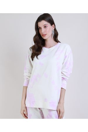 Mindse7 Mulher Casacos - Blusão de Moletom Feminino Mindset Tie Dye Decote Redondo Lilás