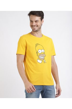 Os Simpsons Camiseta Masculina Homer Simpsons Manga Curta Gola Careca Amarela