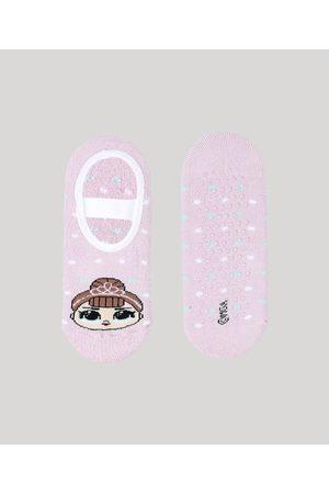 LOL Surprise Meia Infantil Sapatilha Estampada e Sola Antiderrapante Rosa Claro