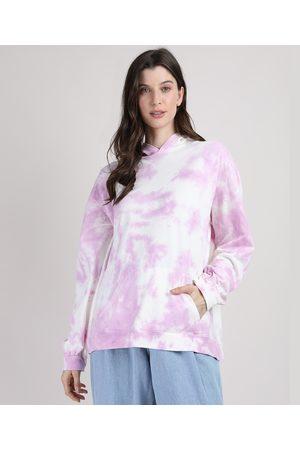 Mindse7 Blusão de Moletom Feminino Mindset Tie Dye com Capuz e Bolso Off White
