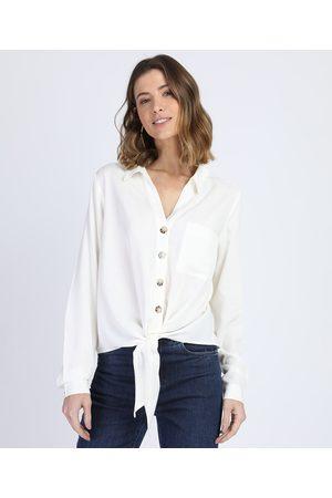 YESSICA Camisa Feminina Cropped com Bolso e Nó Manga Longa Off White