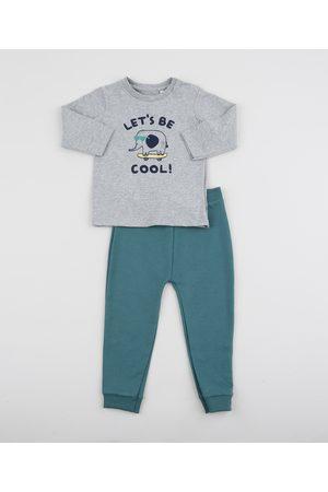 "BABY CLUB Conjunto Infantil Let's Be Cool"" Camiseta Manga Longa Mescla + Calça Verde"""