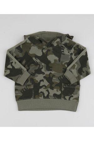 BABY CLUB Blusão de Moletom Infantil Camuflado Dinossauros Verde Militar