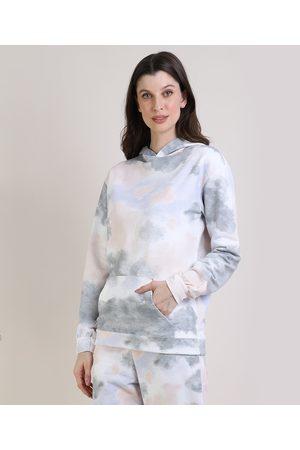 Mindse7 Blusão de Moletom Feminino Mindset Estampada Tie Dye com Capuz e Bolso Off White