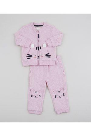 BABY CLUB Conjunto de Moletom Infantil Gatinho de Blusão com Bolso + Calça Claro