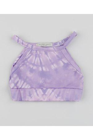 PALOMINO Top Cropped Infantil Tie Dye Alça Fina Lilás