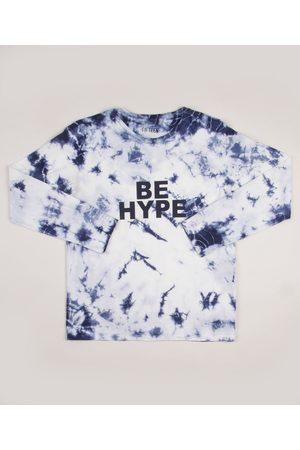 "Fifteen Camiseta Juvenil Estampada Tie Dye be hype"" Manga Longa Azul Marinho"""