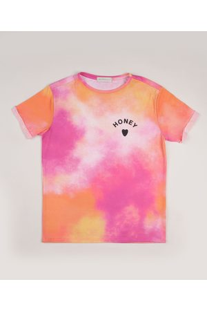 "Fifteen Blusa Juvenil Estampada Tie Dye Honey"" Manga Curta Rosa"""