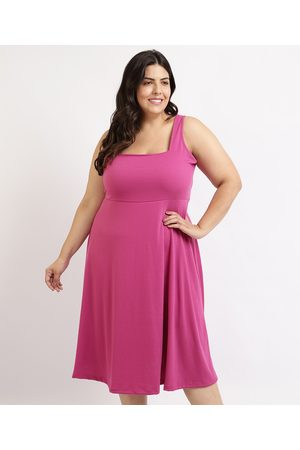 Mindse7 Mulher Vestido Médio - Vestido Feminino Plus Size Mindset Midi Regata Decote Quadrado Pink