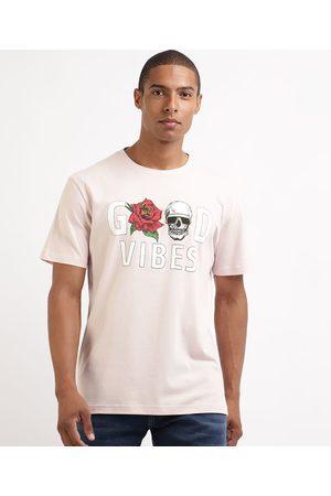 "Clockhouse Camiseta Masculina Good Vibes"" Caveira Manga Curta Gola Careca """