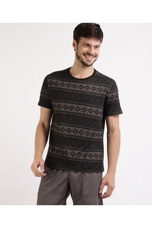 Suncoast Camiseta Masculina Estampada Étnica Manga Curta Gola Careca Preta