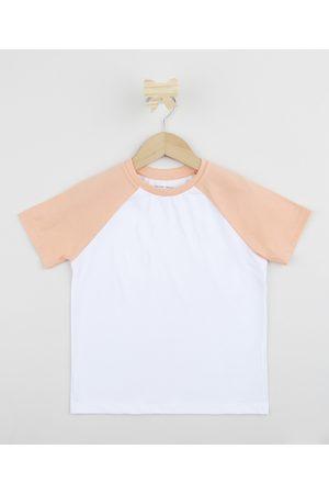 PALOMINO Camiseta Infantil Básica Manga Curta Raglan Rosa