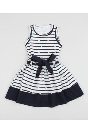 PALOMINO Vestido Infantil Listrado com Faixa para Amarrar Off White