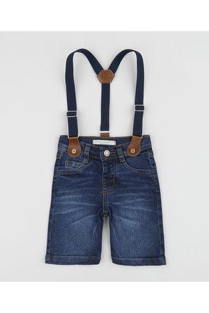 BABY CLUB Menino Calça Jeans Reta - Bermuda Jeans Infantil Reta com Suspensório Listrado Médio