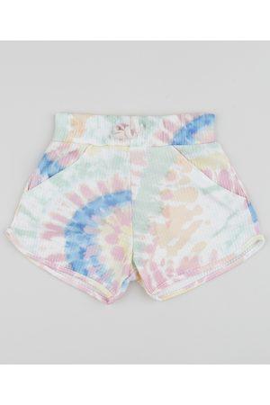 PALOMINO Menina Short - Short Infantil Running Tie Dye com Bolsos Off White
