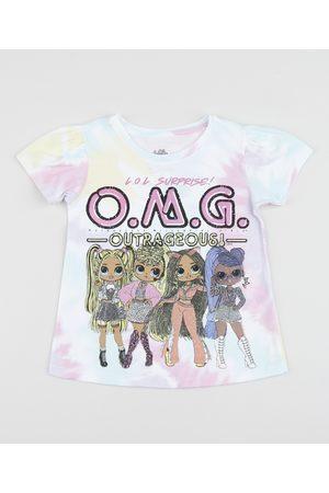 LOL Surprise Blusa Infantil Lol Omg Estampada Tie Dye Manga Curta Bufante Rosa