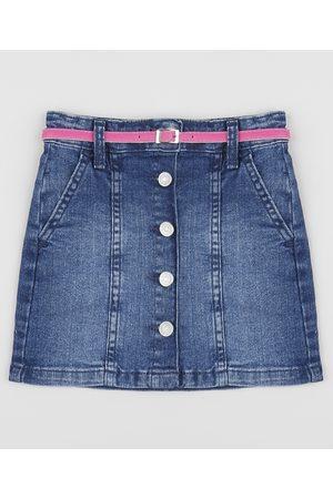 PALOMINO Menina Saia Jeans - Saia Jeans Infantil Curta com Botões + Cinto Escuro