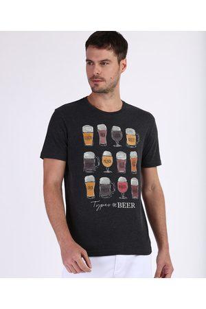 """ANGELO LITRICO Camiseta Masculina Tipos de Cervejas"""" Manga Curta Gola Careca Mescla Escuro"""""""