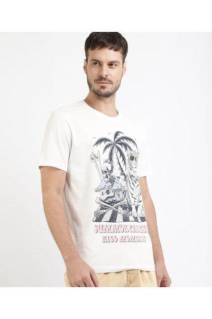 "Clockhouse Homem Manga Curta - Camiseta Masculina Tigre Summer Parties"" Tigre Manga Curta Gola Careca Branca"""