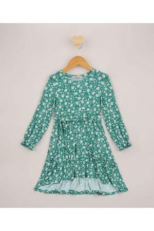 PALOMINO Vestido Infantil Midi Floral com Faixa para Amarrar Verde
