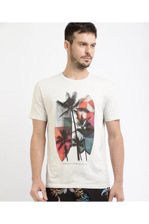 Suncoast Homem Manga Curta - Camiseta Masculina Pranchas e Coqueiros Manga Curta Gola Careca Branca